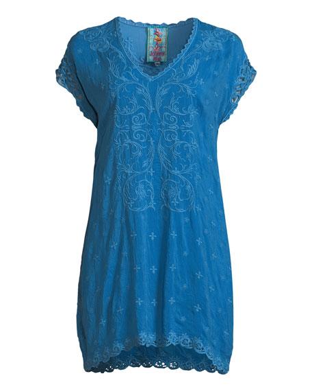 Dani Short-Sleeve Georgette V-Neck Top, Plus Size