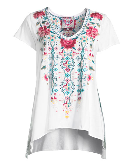 Plus Size Peta Draped Knit Embroidered Short-Sleeve Top