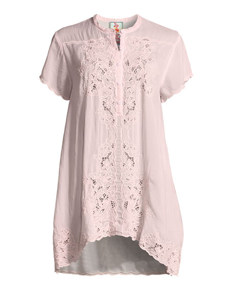 Dina Short-Sleeve Georgette Tunic