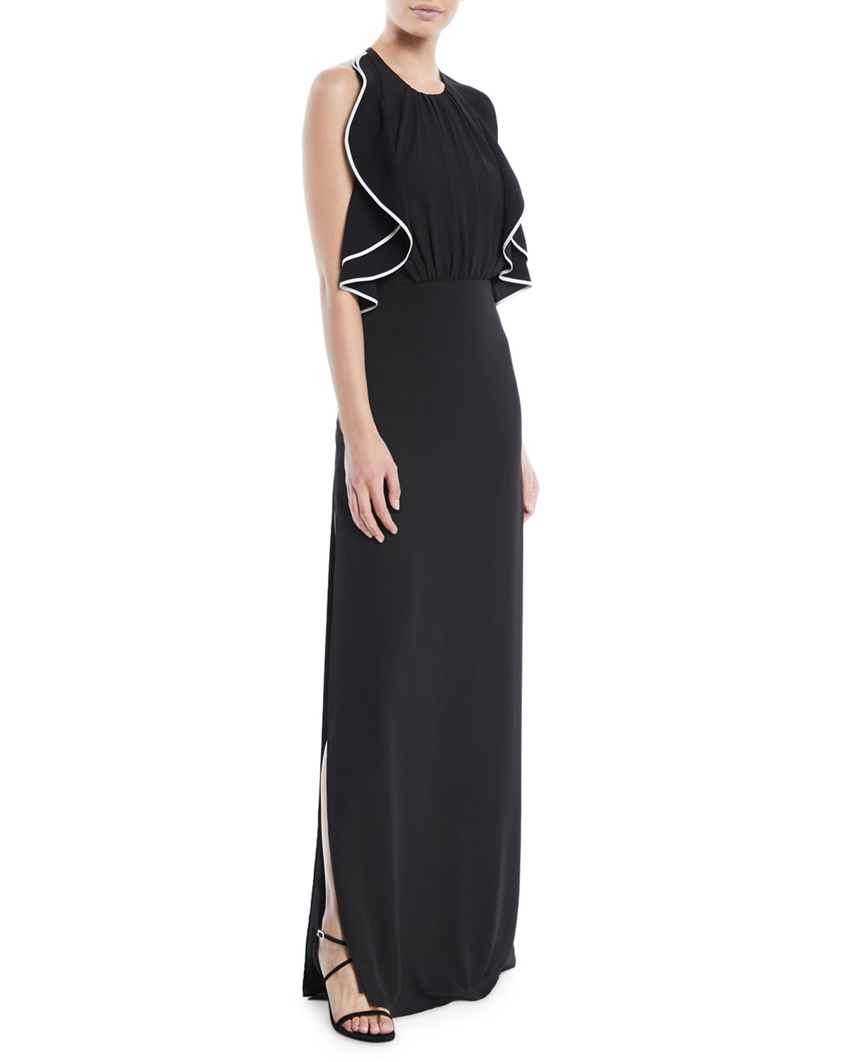 e8a80325a9 Halston Heritage Open-Back Gown w  Ruffle Detail