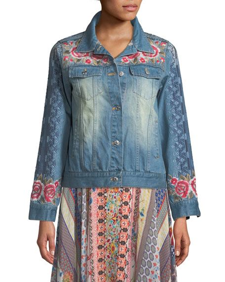 Johnny Was Shea Washed Embroidered Denim Jacket