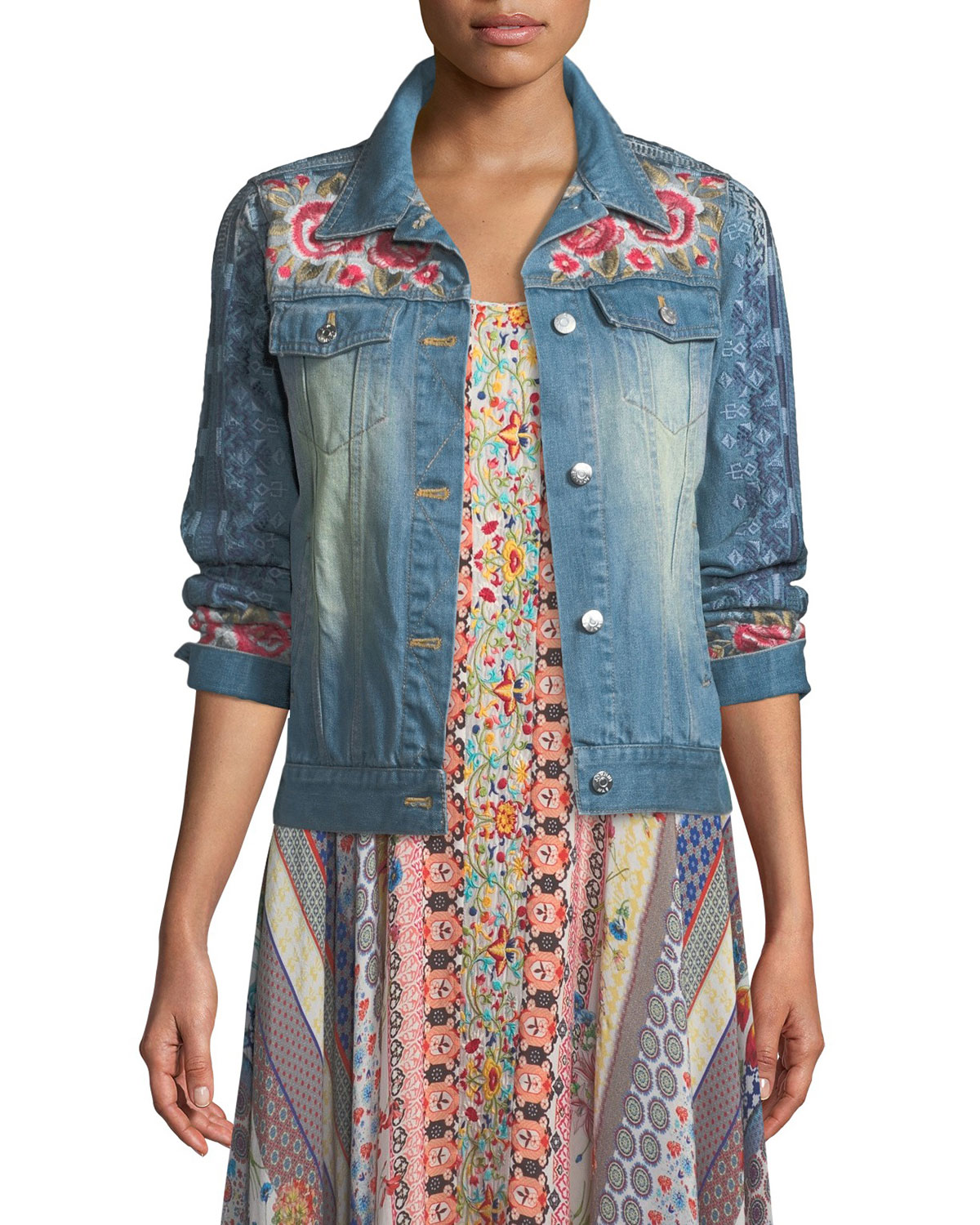 0768ace77b Shea Washed Embroidered Denim Jacket