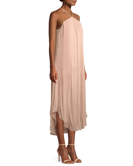 Catalina Pleated Georgette  Halter Midi Dress
