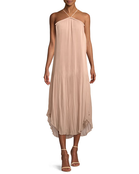 Catalina Pleated Georgette  Halter Midi Dress by Ramy Brook