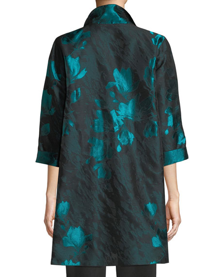 Image 2 of 4: Caroline Rose Plus Size Midnight Garden Jacquard Topper Jacket