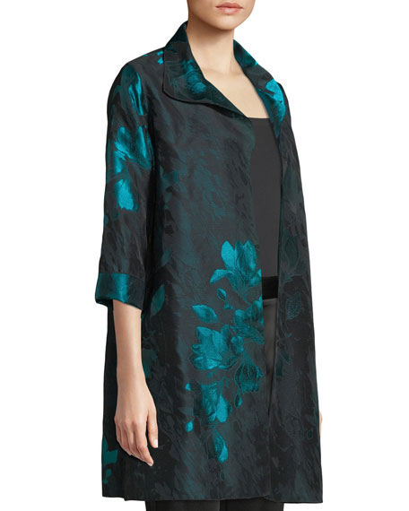 Image 3 of 4: Caroline Rose Plus Size Midnight Garden Jacquard Topper Jacket