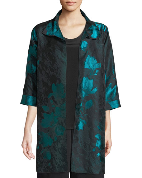 Image 4 of 4: Caroline Rose Plus Size Midnight Garden Jacquard Topper Jacket