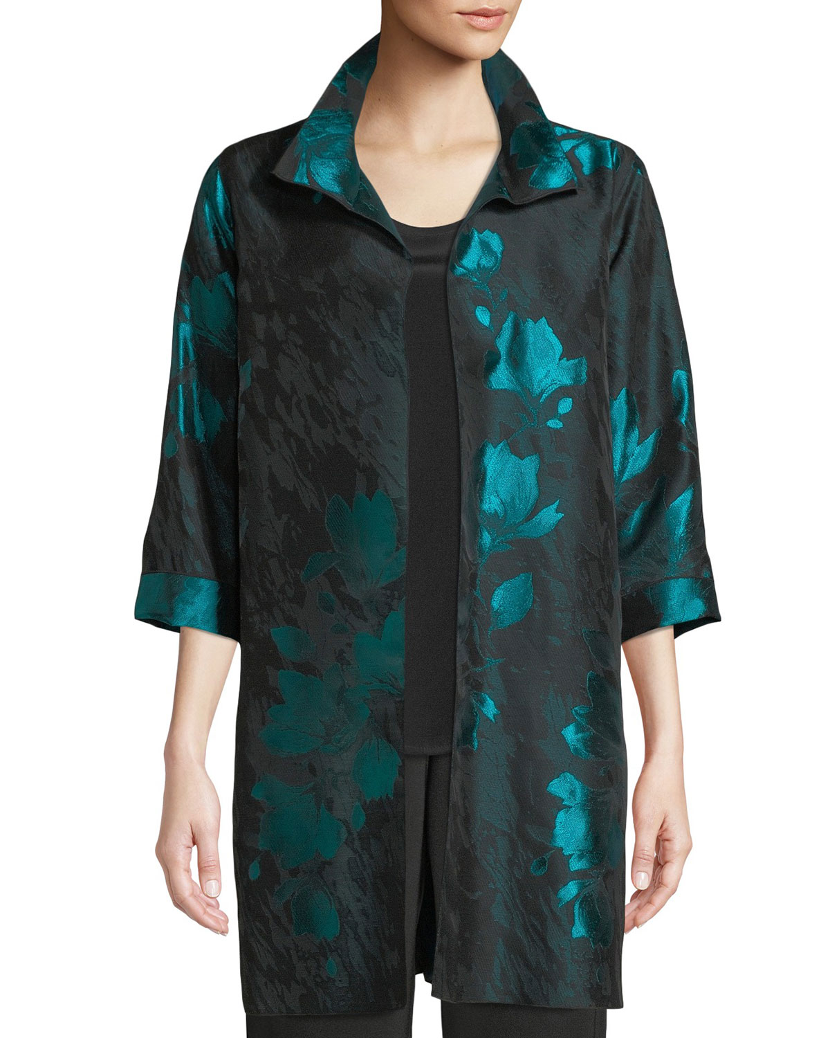 Caroline Rose Plus Size Midnight Garden Jacquard Topper Jacket