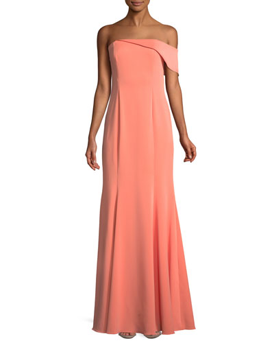 Seaworth Off-the-Shoulder Crepe Gown