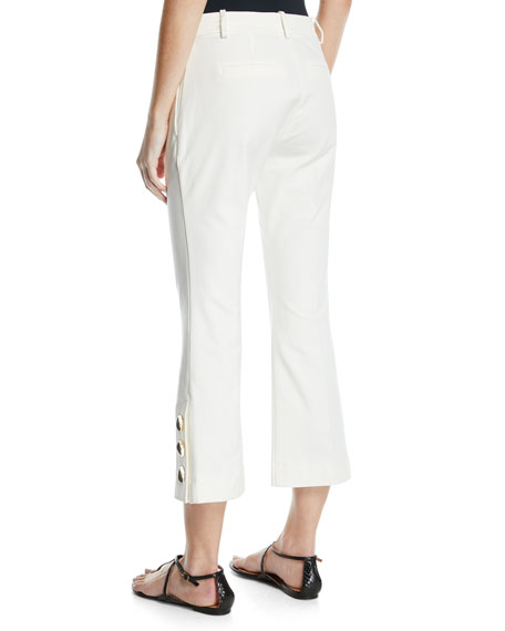 Cropped Flare-Leg Trousers with Golden Buttons