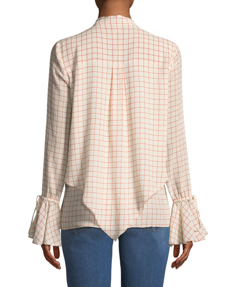 Layered Silk Bell-Sleeve Blouse