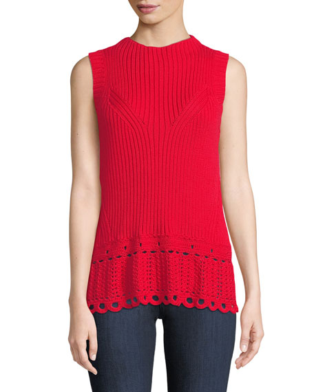 Scalloped Crochet Shell Top in Red from Derek Lam