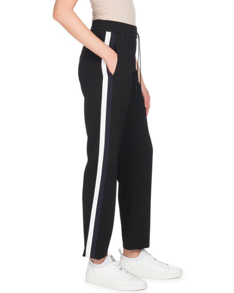 Cropped Side-Stripe Jogger Track Pants