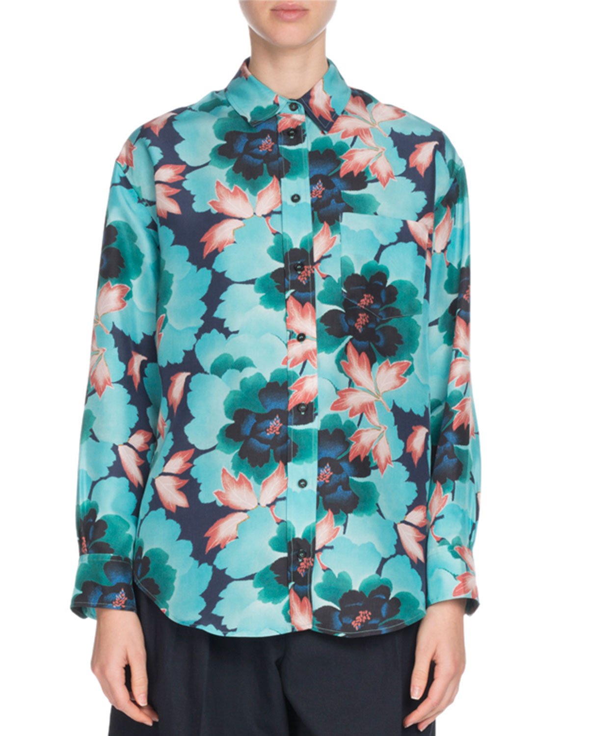 0eeb1911 Kenzo Floral Silk Button-Front Pocket Shirt | Neiman Marcus