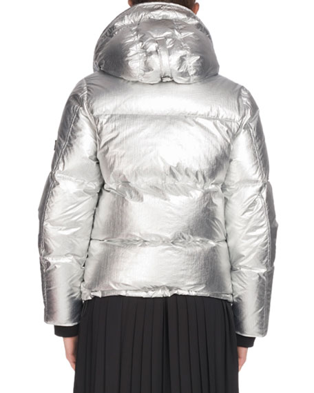 8a37409d Hooded Metallic Down Puffer Jacket