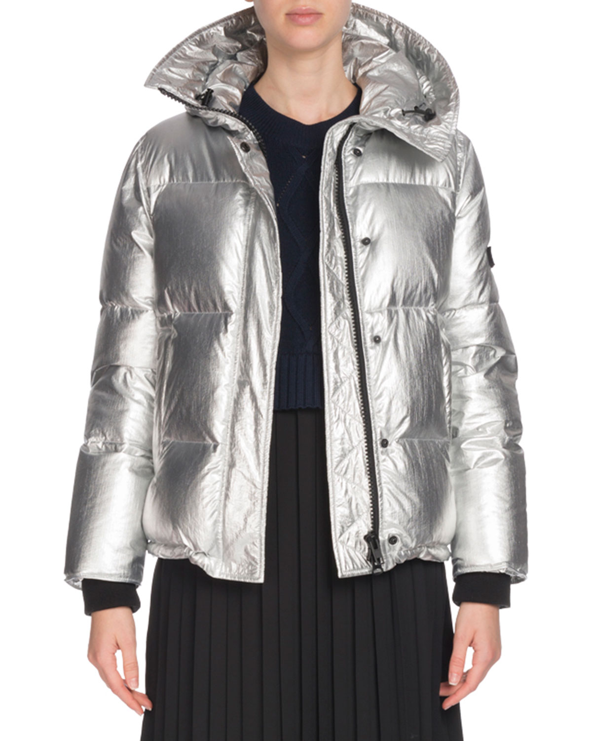 d465f009 Hooded Metallic Down Puffer Jacket