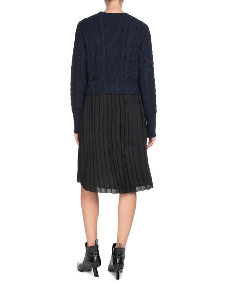 Kenzo Mixed-Knit Pleated Long-Sleeve Dress