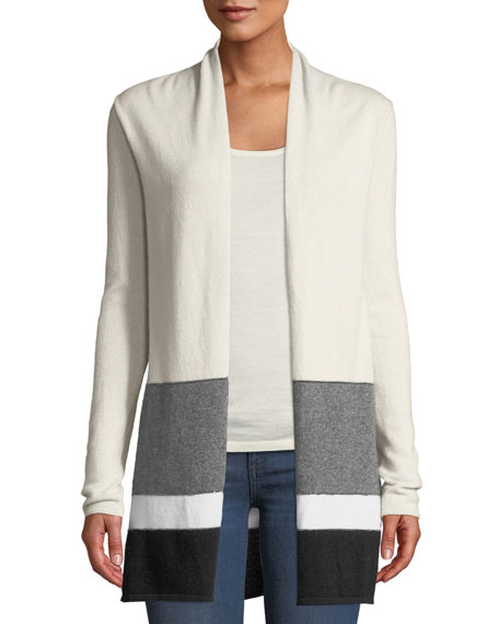 Neiman Marcus Cashmere Collection Colorblock Open-Front Cashmere