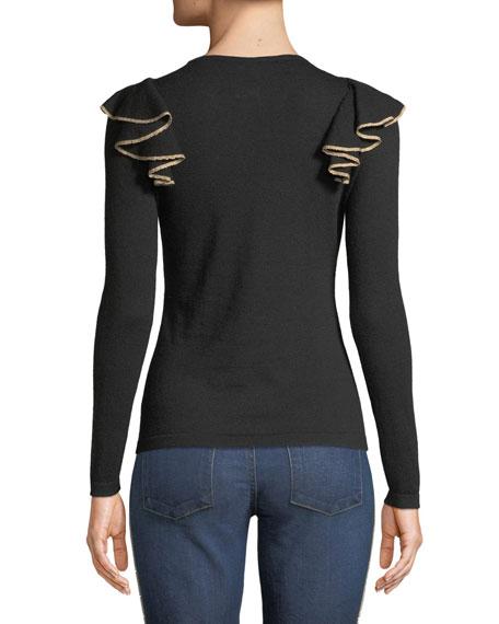 Superfine Cashmere Ruffle-Shoulder Sweater