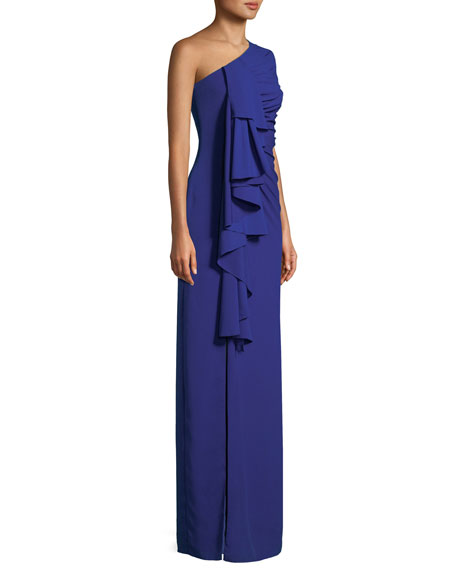 One-Shoulder Draped-Front Gown