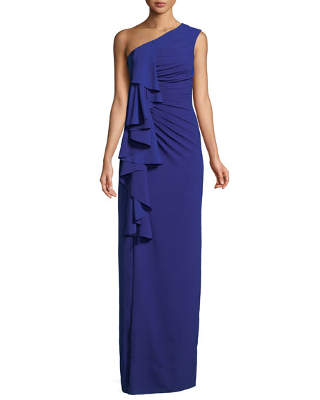 Aidan by Aidan Mattox One-Shoulder Draped-Front Gown