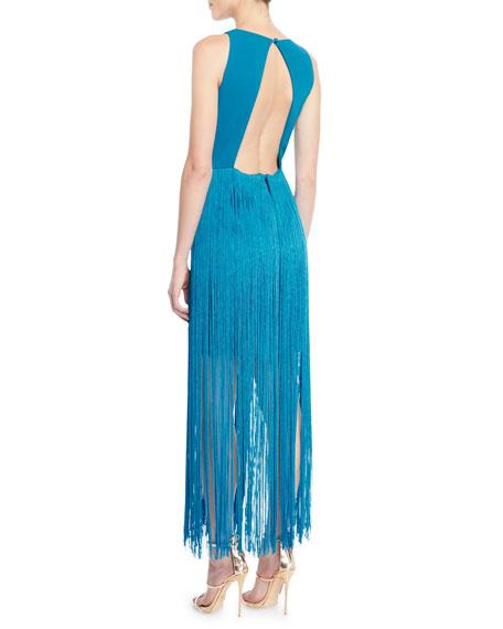 Sleeveless Open-Back Fringe Dress