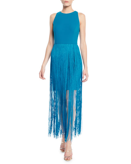 Aidan by Aidan Mattox Sleeveless Open-Back Fringe Dress