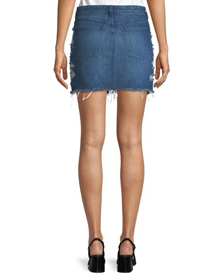 Celine Distressed Denim Mini Skirt