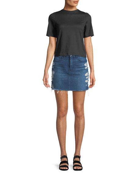 Celine Distressed Denim Mini Skirt