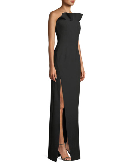 cinq a sept Kiera Strapless Side-Slit Frill Gown