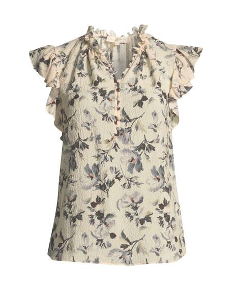 Sofia Floral-Print Silk Button-Front Top