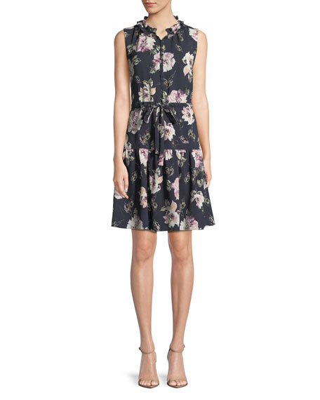 Magnolia Floral-Print Button-Front Dress