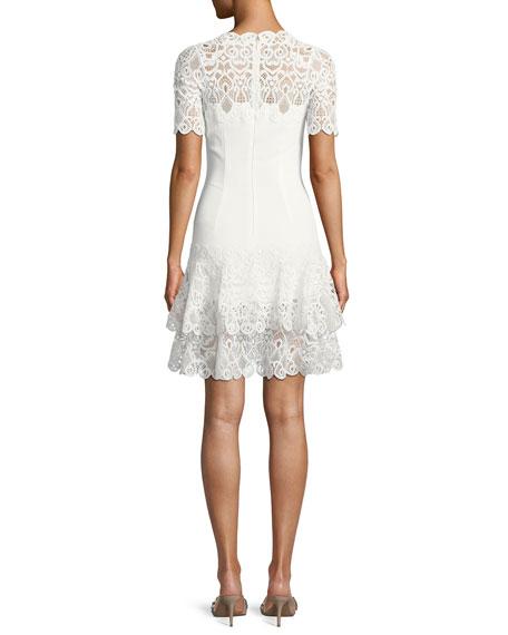 Lace Applique Mini Tee Dress