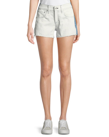 Two-Tone Cutoff Denim Shorts