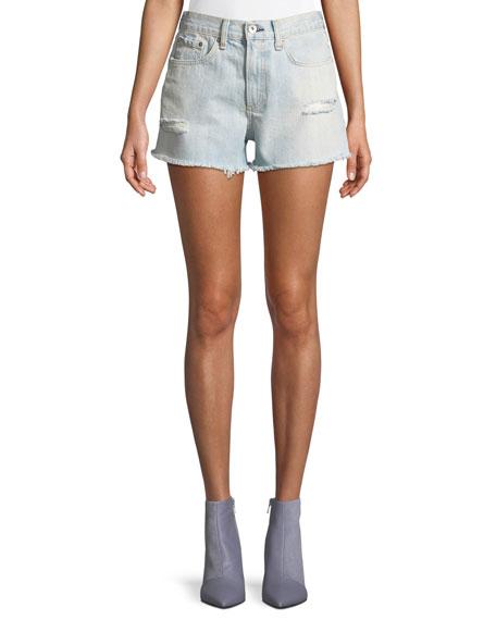 rag & bone/JEAN Justine High-Rise Frayed Denim Shorts
