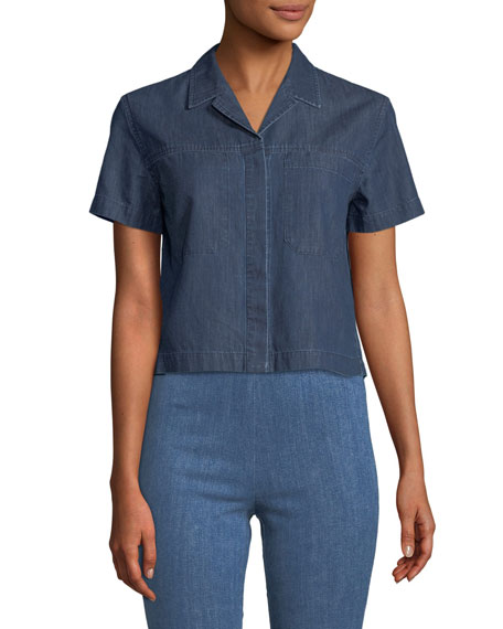 Rag & Bone Reggie Button-Front Short-Sleeve Top