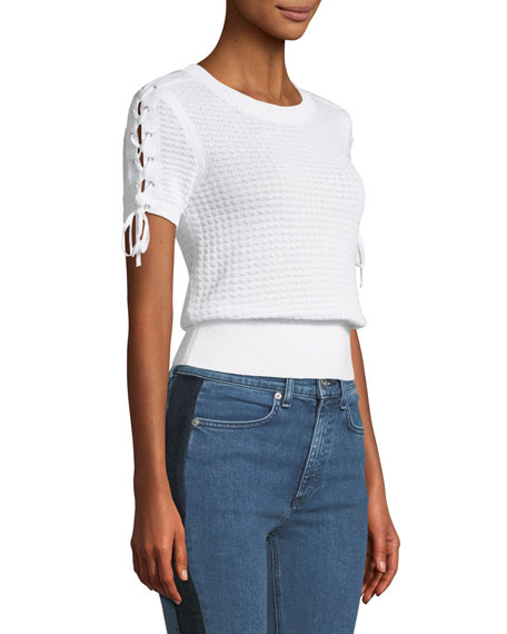 Iona Crewneck Lace-Up Knit Top