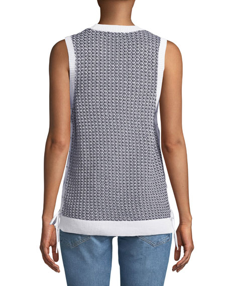 Iona Crewneck Sleeveless Lace-Up Knit Tank