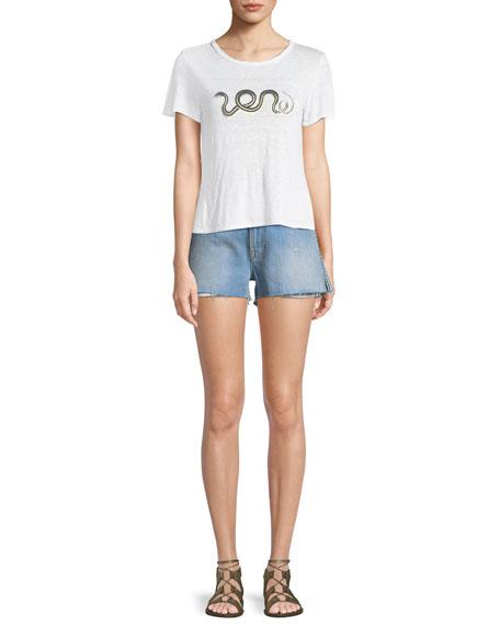 Le Studded Cutoff Denim Shorts
