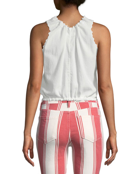V-Neck Tie-Front Sleeveless Cotton Top