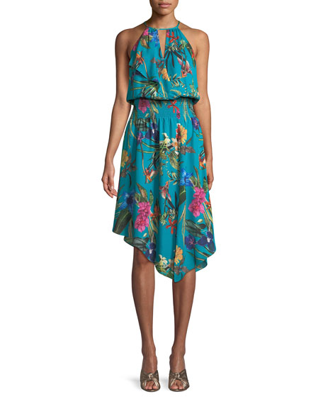 Harley Asymmetric Floral Silk Dress, Azule Sardinia