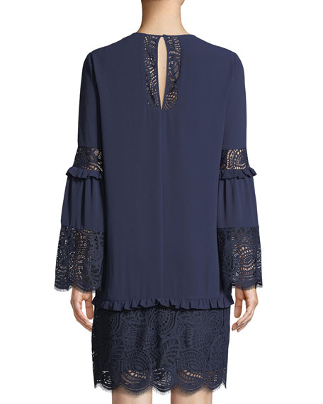 Image 2 of 3: MICHAEL Michael Kors Bell-Sleeve Dress with Scalloped Lace