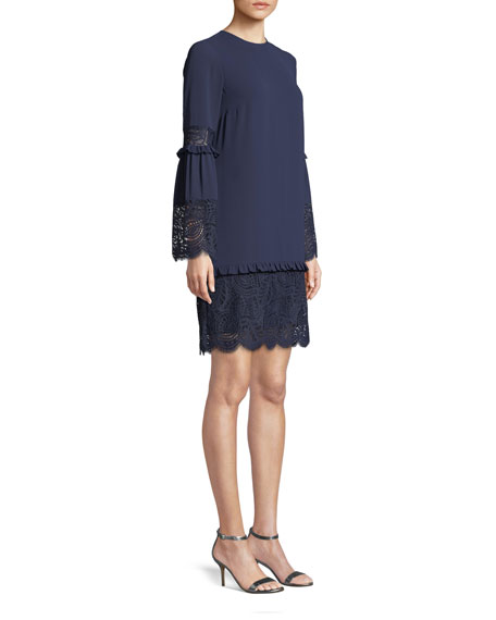 Image 3 of 3: MICHAEL Michael Kors Bell-Sleeve Dress with Scalloped Lace