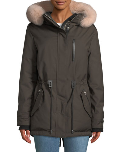 Chara Parka Coat w/ Fur-Trim Hood
