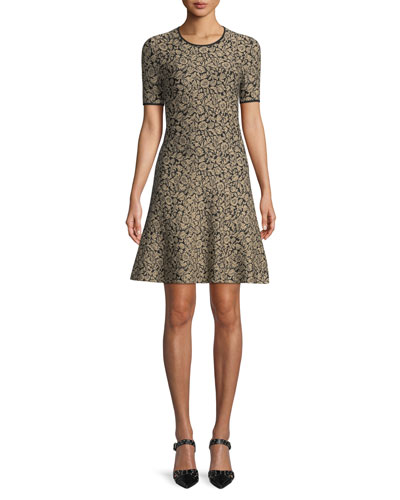 Metallic Jacquard A-Line Dress