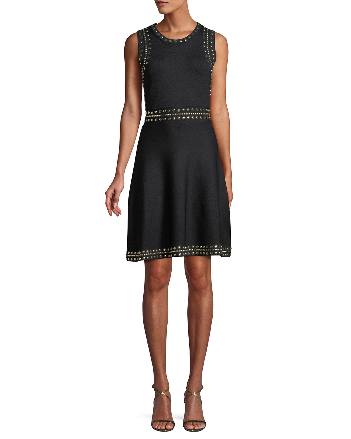 45d3828577c MICHAEL Michael Kors Studded-Trim Sleeveless Fit-and-Flare Dress ...