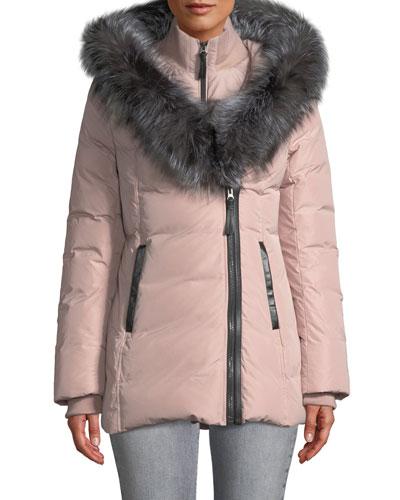 Adali Fur-Hood Down Puffer Coat