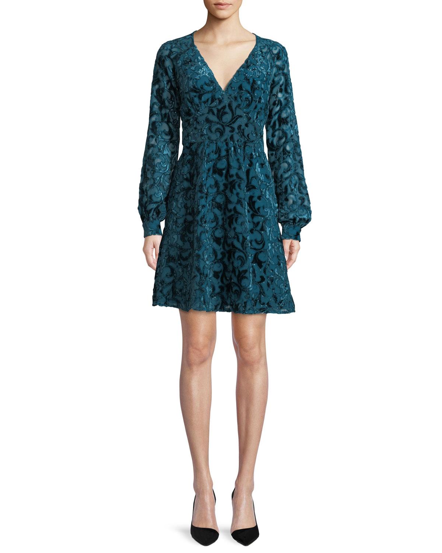 67a91211d93600 MICHAEL Michael Kors Raglan-Sleeve Mini Dress w/ Velvet | Neiman Marcus