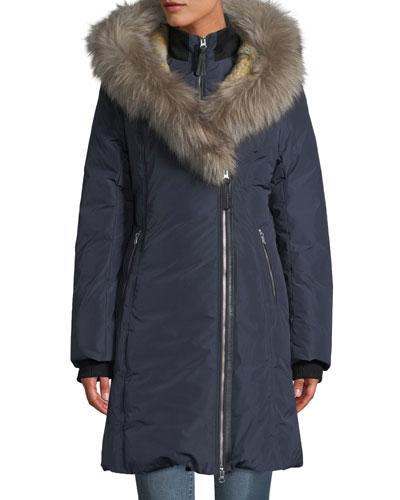 Down-Fill Oversize Fur-Hood Coat