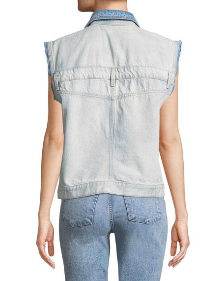 Oversize Button-Front Denim Vest